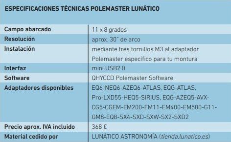 PoleMaster - buscador a la polar de alta precisión y fácil uso.